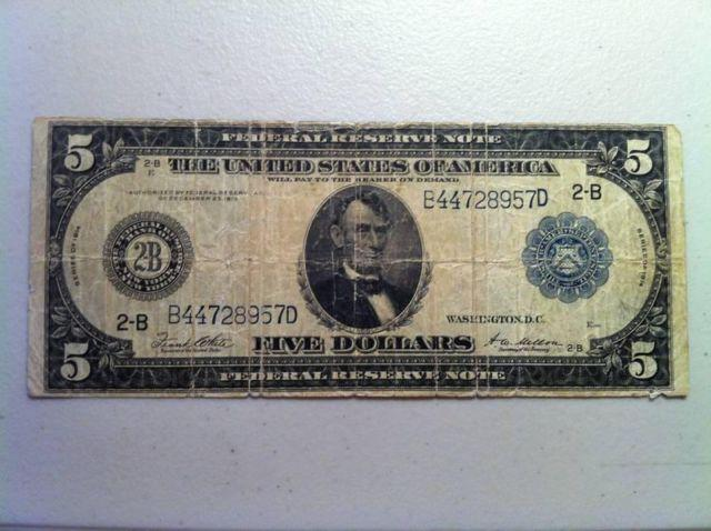 1914 - Large 5 Dollar FEDERAL RESERVE NOTE - Blue Seal