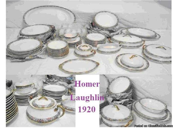 (????)? 1920 CHINA SET HOMER LAUGHLIN 12 PLACE settings