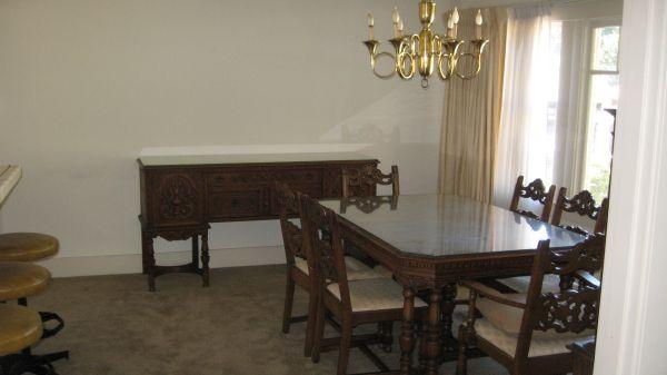 Dining Sets Tuscany Solid Wood Large Dining Set Table 6 Chairs: 1920's Baroque Style Dining Room Set & Hutch/Buffets