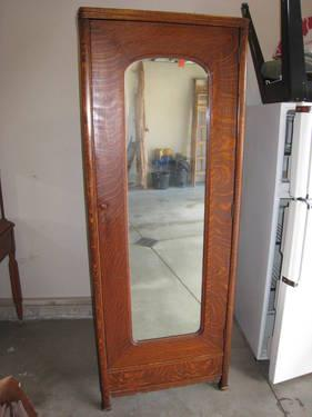 1920s Mirrored Solid Oak Wardrobe, A Nice Quality Piece