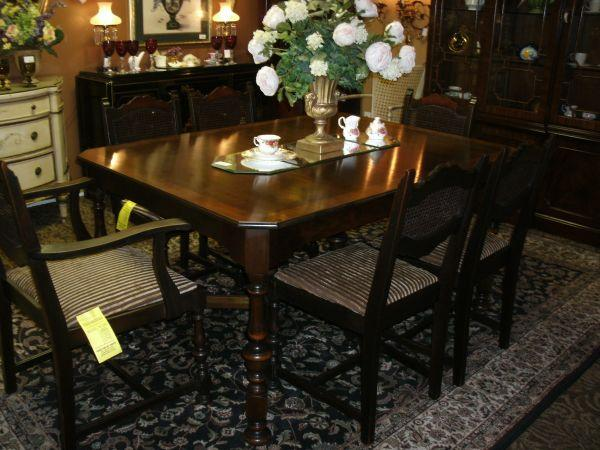 1920s inlaid walnut diningroom table 6 chairs upper st