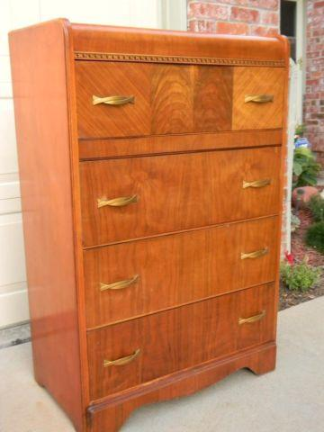 1930's Art Deco Waterfall 4-Drawer Highboy Chest , W.