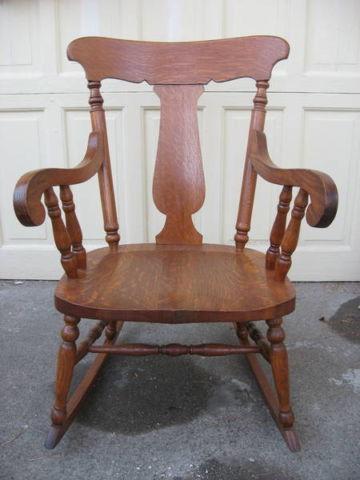 1930u0027s Oak T Back Rocking Chair