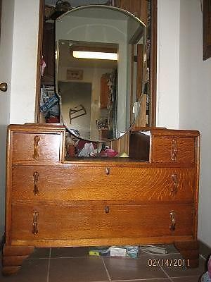 1930s Vanity Dresser with Beveled Mirror -Tiger Oak