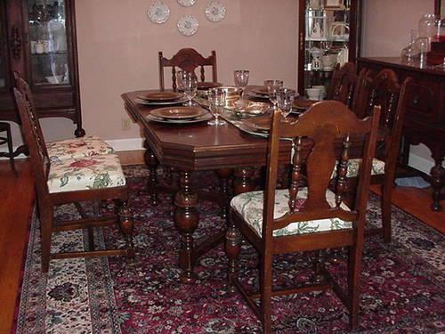 1930s walnut 8 pc dining room set sold images frompo for Dining room table and buffet sets