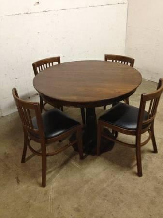 1940u0027s Antique Bistro Table With Cast Iron Base From