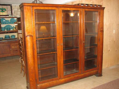 1940 39 s bookcase cabinet 3 door thick beveled glass oak for 1940s kitchen cabinets for sale