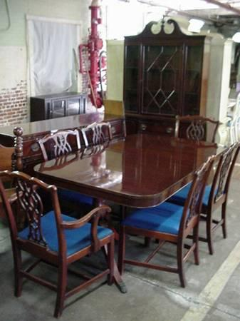 1940 S Mahogany Chippendale Style 9 Piece Dining Set For