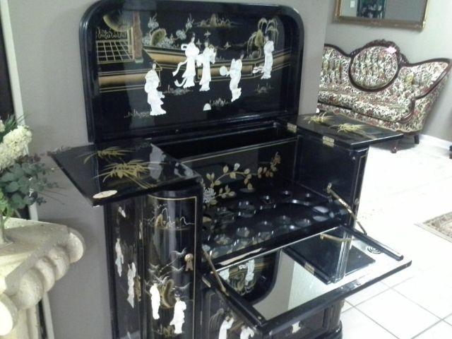 1950 S Oriental Hideaway Liquor Cabinet And Mini Bar
