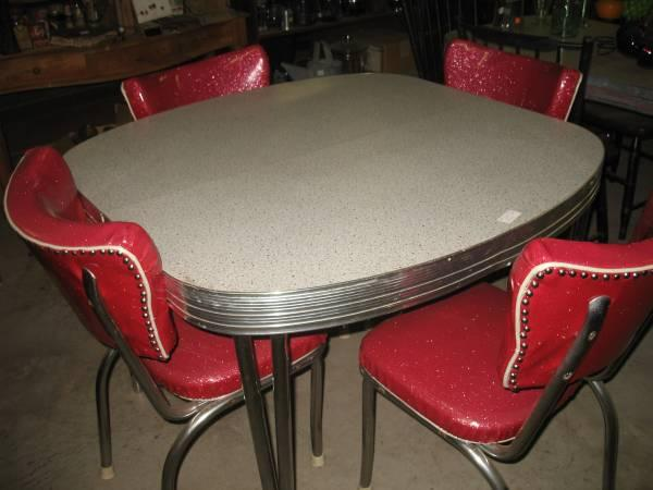 1950 S Retro Chrome Formica Table Dinette Set For Sale