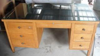 1950 S Solid Oak Teacher Desk