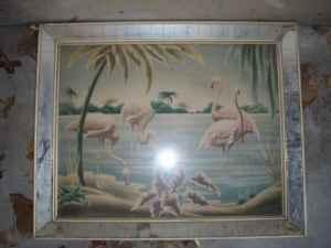 1950s Vintage Turner Flamingo Print Mirrored Frame