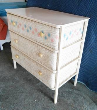 1950s White Pink Blue Wicker 3 Drawer Baby Changing Table