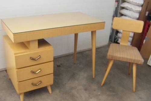 1953 Vintage Danish Modern Pedestal Desk & Chair Set