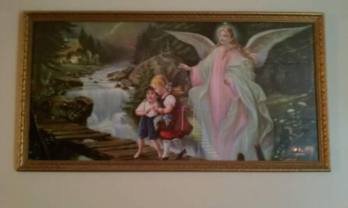 1960 print of lindberg guardian angel and children for Angel paintings for sale