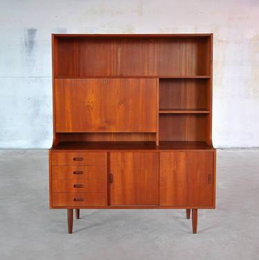 1960s Danish Modern Teak Bookcase Secretary Desk Bar