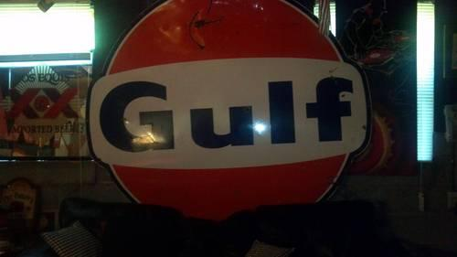 1965 Gulf Service Station Sign 6' Porcelain Good Condition