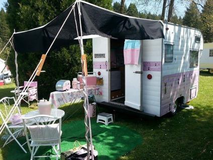 _1969 Safari vintage travel trailer camper glamper Pink and Cute