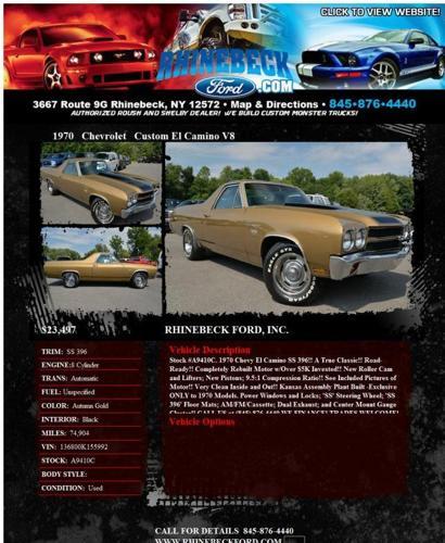 1970 Chevrolet Custom El Camino 396 Ci V8 We Finance