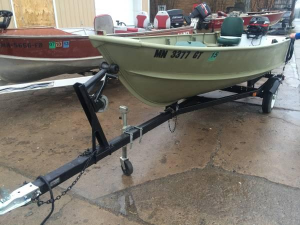 1974 alumacraft 14ft boat motor trailer 15hp mercury 4 for Boat motors for sale mn