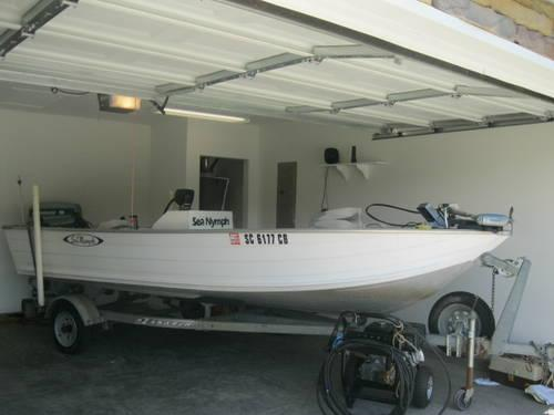 1985 16 5 ft aluminum v hull fishing boat trailer for for Best aluminum fishing boat for the money
