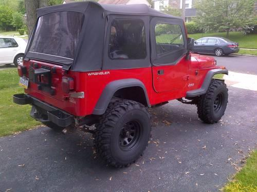 1991 jeep wrangler yj 4 0 4 lift 34 tires red 5 speed for sale in bryn mawr pennsylvania. Black Bedroom Furniture Sets. Home Design Ideas