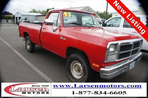 1993 Dodge W250 2d Standard Cab Base For Sale In