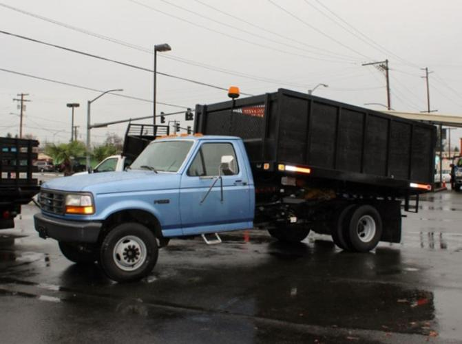 5917: 1996 FORD F450 SD 12 Ft. Flatbed Dump Truck for Sale