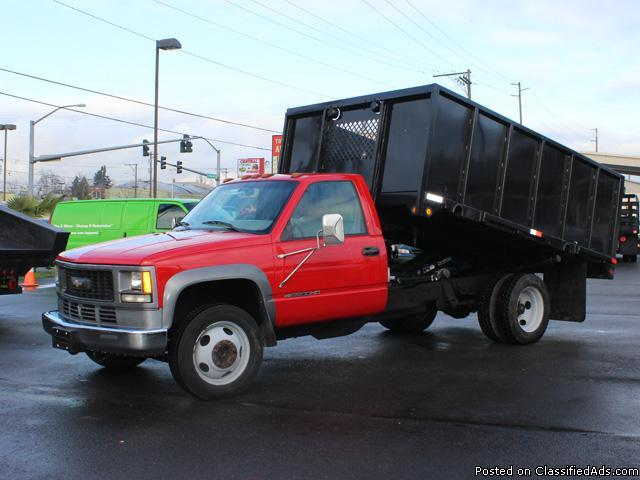 5684 1999 chevrolet hd 3500 one ton 12 ft flatbed dump truck for sale in kent washington. Black Bedroom Furniture Sets. Home Design Ideas