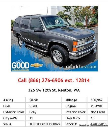 2013 Chevrolet Tahoe Ltz For Sale: 1999 Chevrolet Tahoe LT Gray SUV V8 For Sale In Seattle