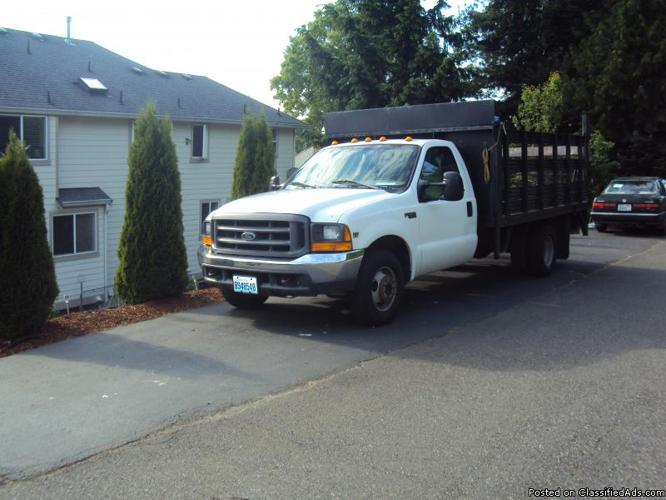 1999 ford f 350 super duty diesel flatbed truck with liftgate for sale in kent washington. Black Bedroom Furniture Sets. Home Design Ideas