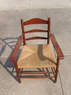 19th C Antique Shaker Arm Chair Rush Seat Ladder Back