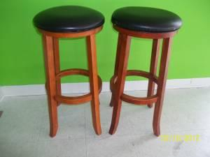 2 36 Wood Leather Bar Stools For Set For Sale In Meridian