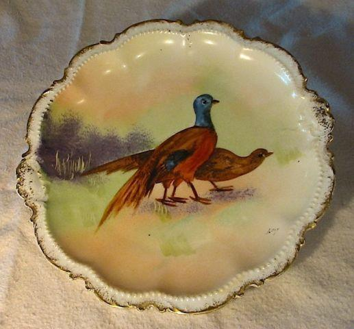 Limoges Hand Painted Bird Plates