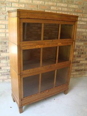 #2 ANTIQUE OAK BARRISTER 3 SHELF BOOKCASE LAWYER