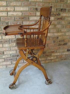 #2 ANTIQUE OAK COMBO BABY HIGHCHAIR STROLLER CHILDS