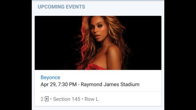2 BEYONCE FORMATION TICKETS 4/29/16 TAMPA FL