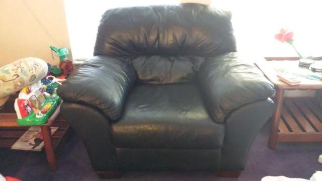 2 Black Leather Oversized Chairs & Leather Ottoman Ashley