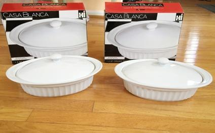 2 ceramic oval covered casseroles