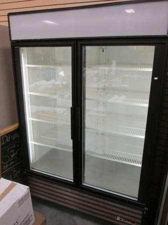 2 door TRUE commercial refrigerator with interior exterior lighting