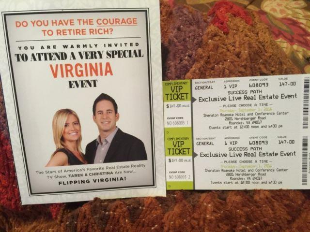 2 Event Tickets with The Stars TAREK & CHRISTINA