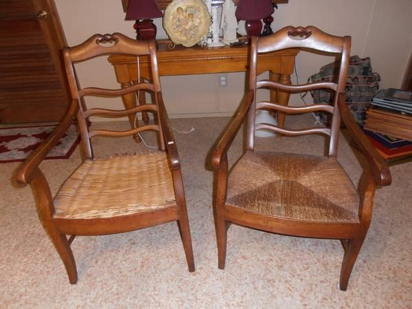 2 FRENCH ANTIQUE ARM CHAIRS WITH RUSH SEATS - $90