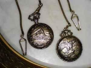 2-GENEVA RAILROAD POCKET WATCHES-ONE W/EAGLE ONE