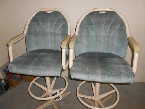 2 High Back Swivel Breakfast Chairs Stools For Sale In