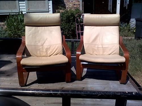 2 ikea cream leather poang chairs with leather footsool for sale in alvin texas classified. Black Bedroom Furniture Sets. Home Design Ideas