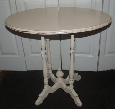2 Ivory French Country Shabby Chic Distressed Tables
