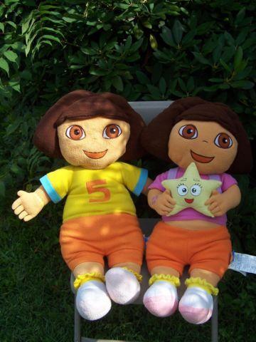 2 LARGE Dora the Explorer 28 plush dolls - 1 doll has her backpack on