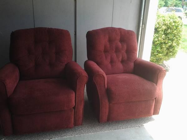 2 Matching Burgundy Rocker Recliners For Sale In Raleigh
