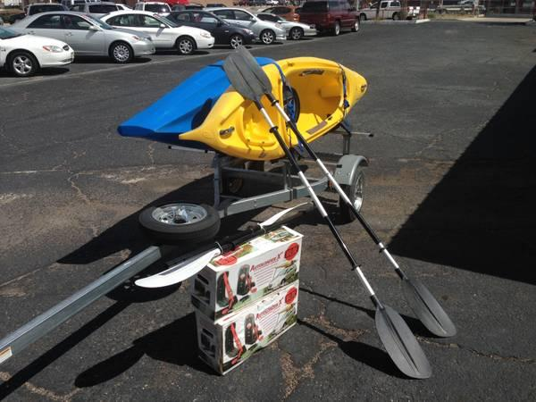 2 Old Town Kayaks with Trailer - $1575