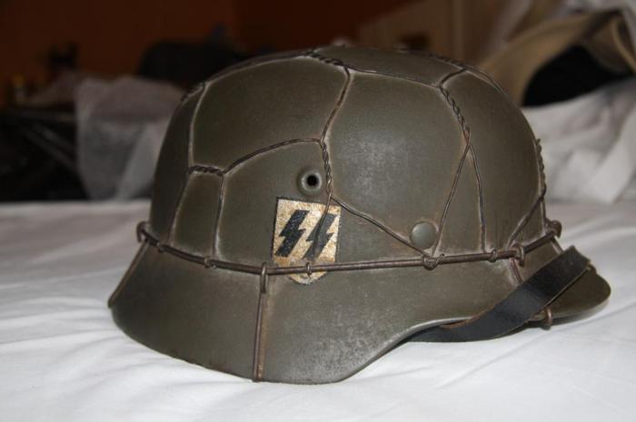 2 Original German WW2 Waffen SS M42 Helmets/SE62 & Q62
